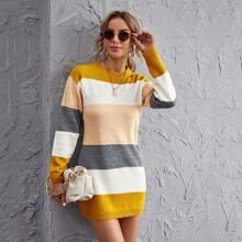 Vestido jersey tejido de color combinado