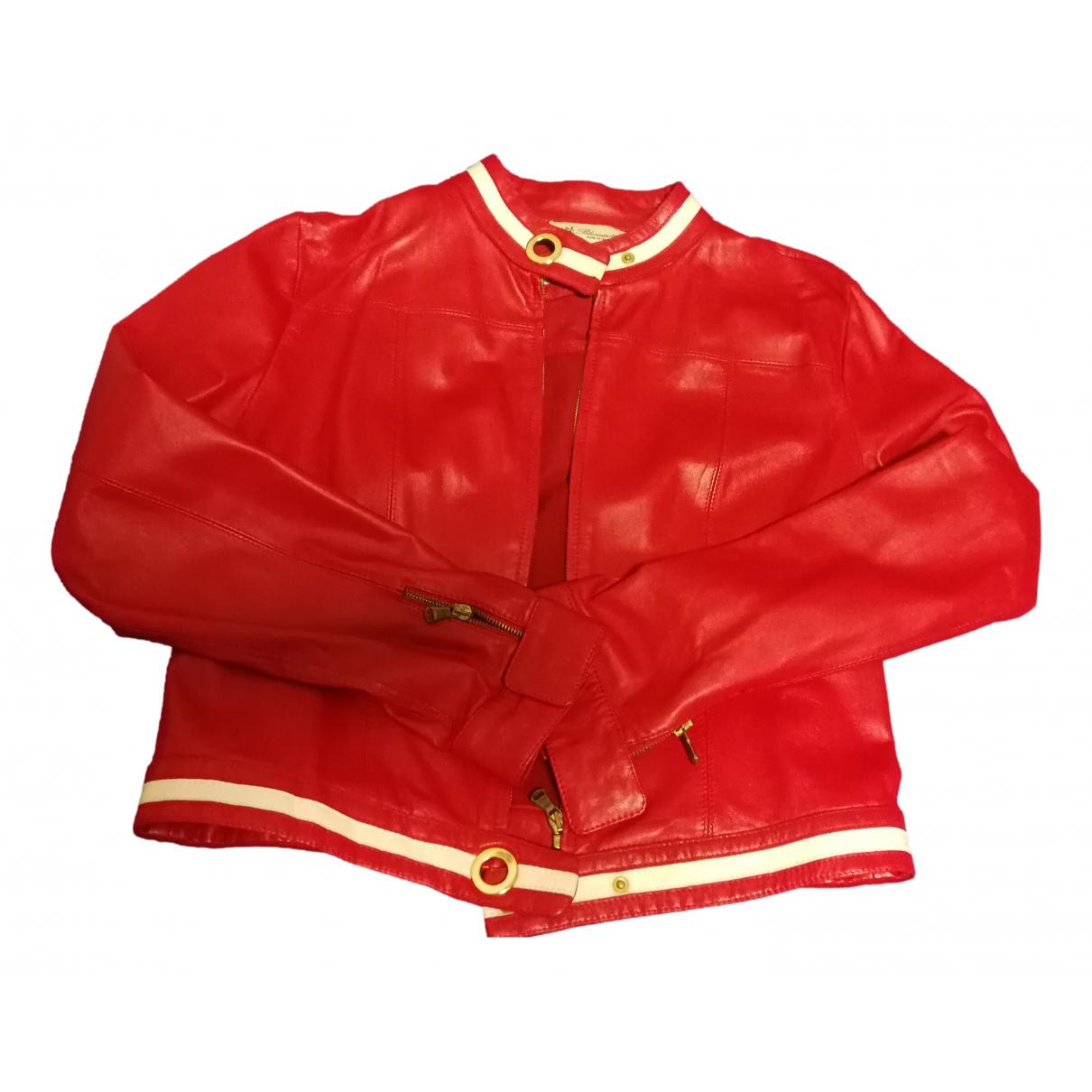 Blumarine - Veste   pour femme en cuir - rouge