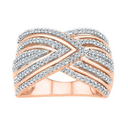 Womens 1/2 CT. T.W. Genuine Diamond 14K Rose Gold Over Silver Cocktail Ring, 8 1/2 , No Color Family