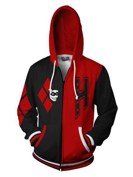 Milanoo DC Comics Harley Quinn Halloween Cosplay Hoodie Black And Red Costume