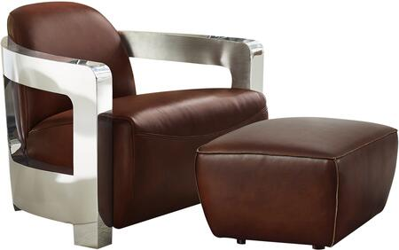 Milan Collection SU-AX1902-AO Leather and Chrome Aviator Armchair with Ottoman in Brown