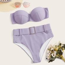 Underwire Belted High Waist Bikini Swimsuit