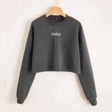 Crop Sweatshirt mit Buchstaben Grafik und sehr tief angesetzter Schulterpartie
