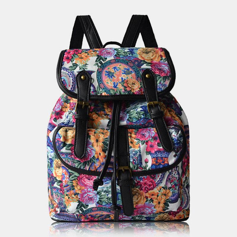 Women Print Wave Pattern Bohemia Backpack