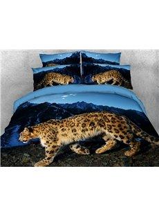 Walking Wild Leopard 3D Duvet Cover Set Soft Wrinkle-resistant 4-Piece Animal Bedding Sets