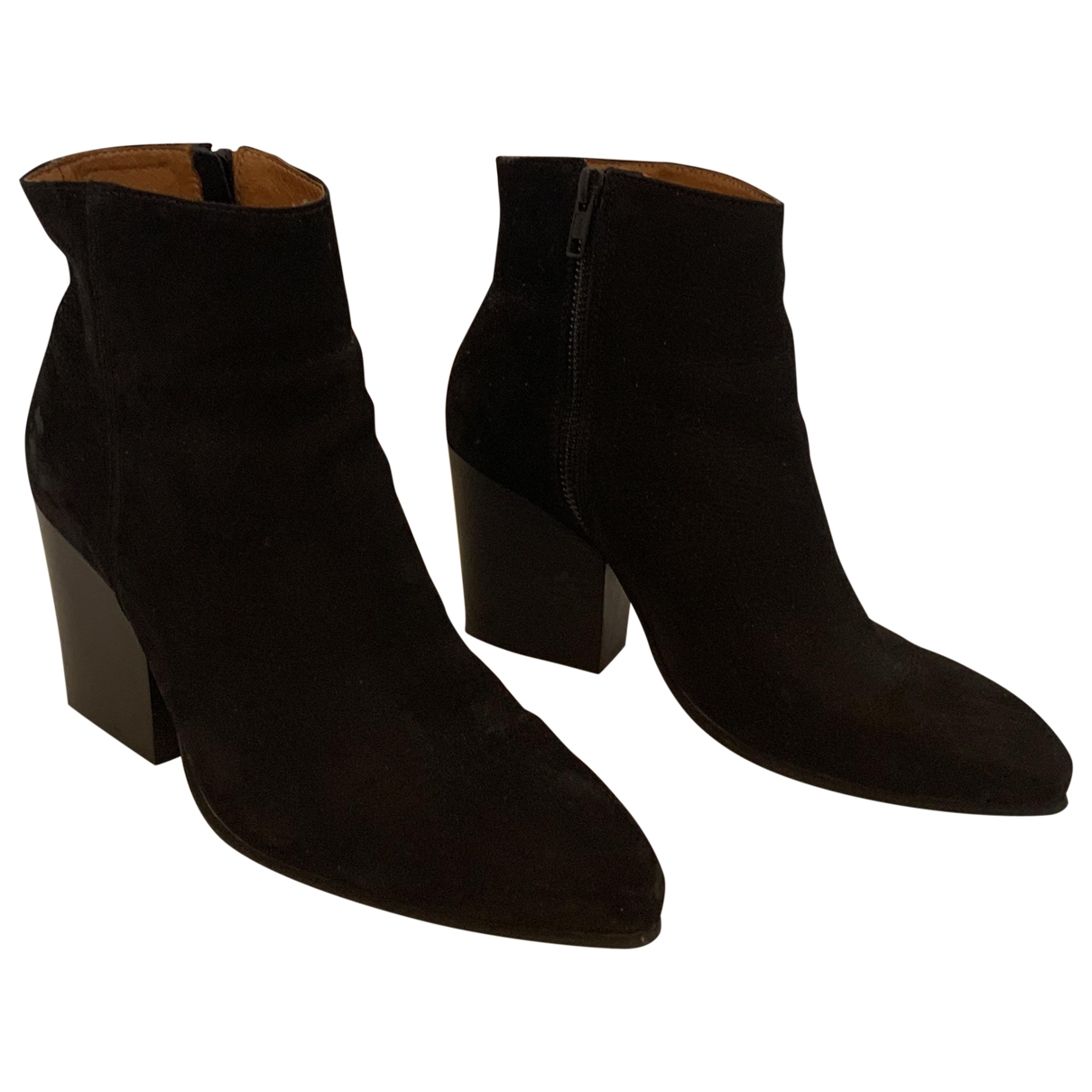 Selected \N Black Leather Ankle boots for Women 38 EU