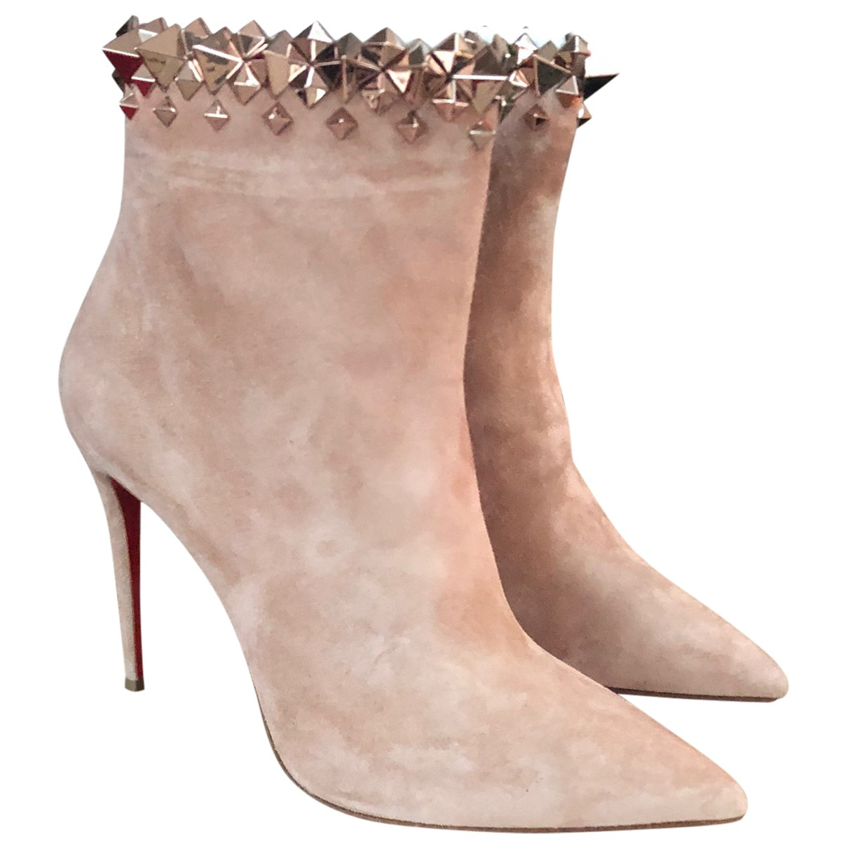 Christian Louboutin N Beige Suede Ankle boots for Women 34 EU