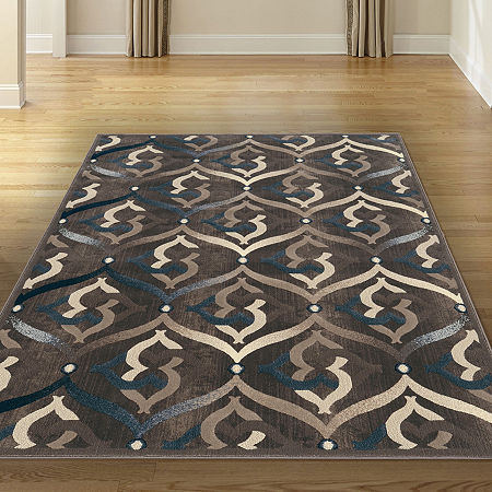 Iseo Jamal Modern Geometric Contemporary Area Rug, One Size , Brown