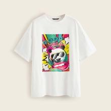 Drop Shoulder Panda Graphic Tee