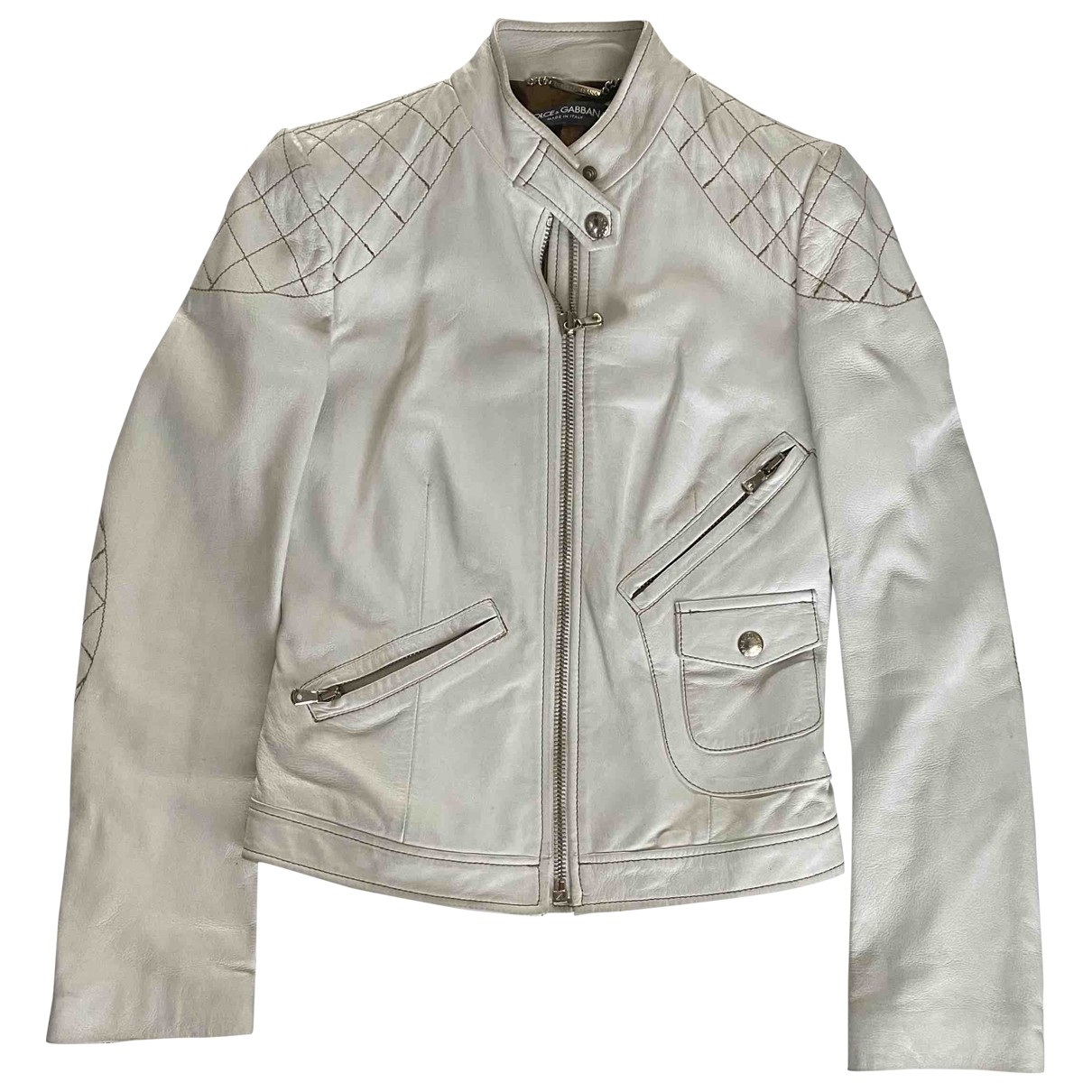 Dolce & Gabbana - Veste   pour femme en cuir - blanc