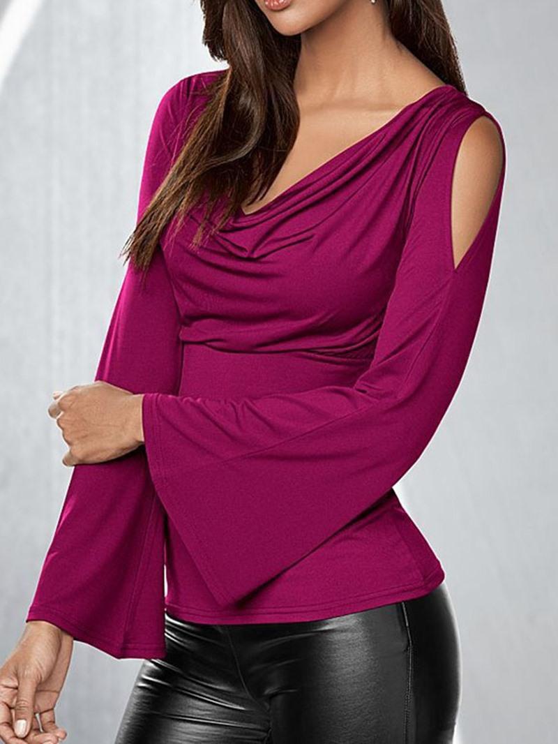 Ericdress Flare Sleeve Pleated Standard Elegant Slim T-Shirt