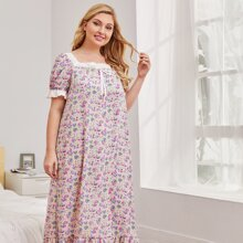 Plus Schiffy Ruffle Trim Knot Front Floral Nightdress