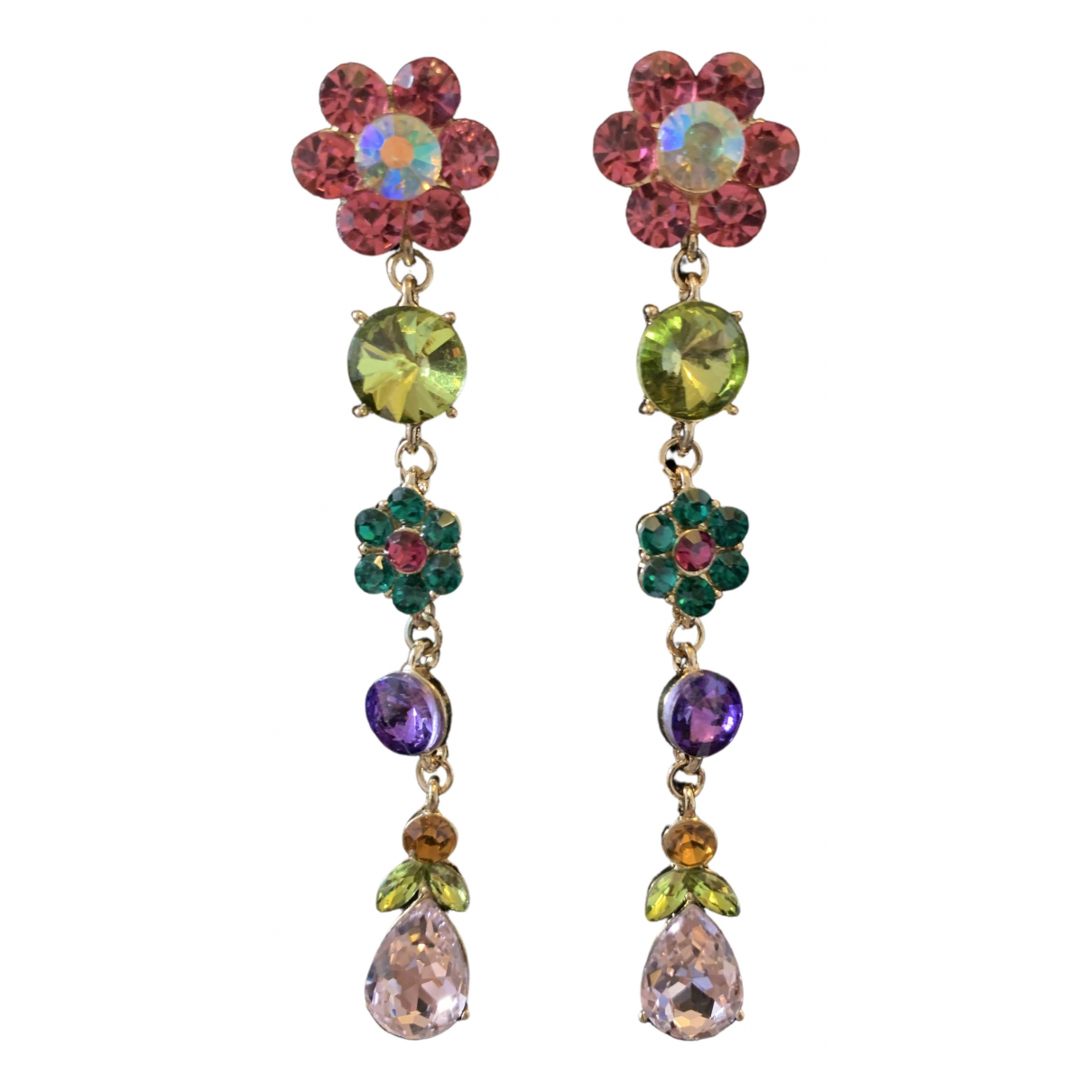 Non Signé / Unsigned Motifs Floraux Multicolour Metal Earrings for Women \N