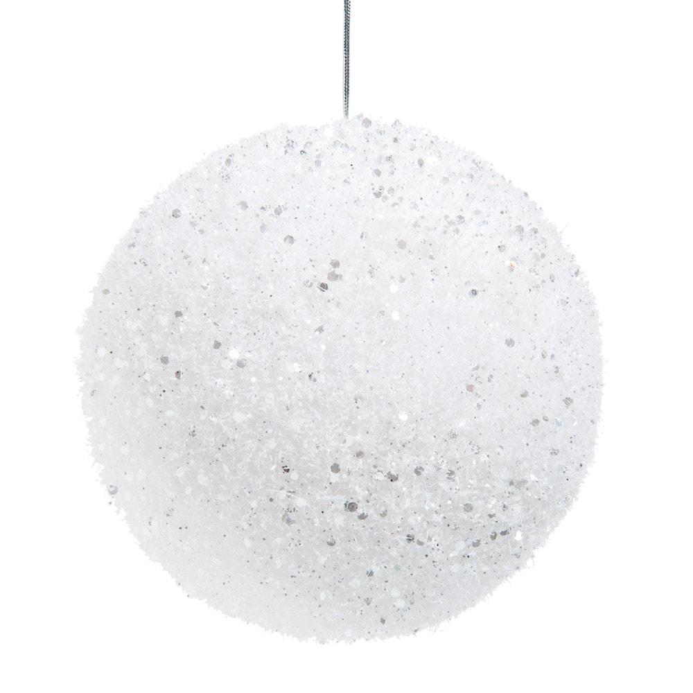 Weisse Weihnachtskugel mit schillerndem Glitzer