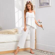 Schlafanzug Set mehrschichtiges asymmetrisches Cami Top und Hose