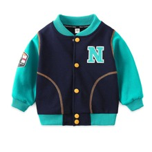 marineblau Mit Patches  Buchstaben  Laessig Kleinkind Jungen Oberbekleidung