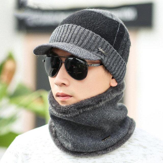 Men's Hat Collar Set Warm Knitted Cap Men's Wool Scarf Cap