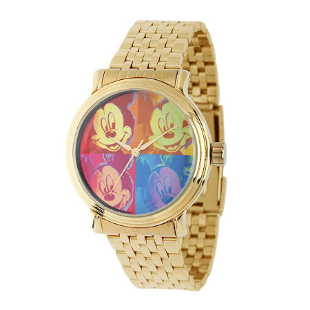 Disney Mickey Mouse Mens Gold-Tone Stainless Steel Vintage-Style Watch, One Size , No Color Family
