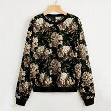 Pullover mit Blumen Muster und sehr tief angesetzter Schulterpartie