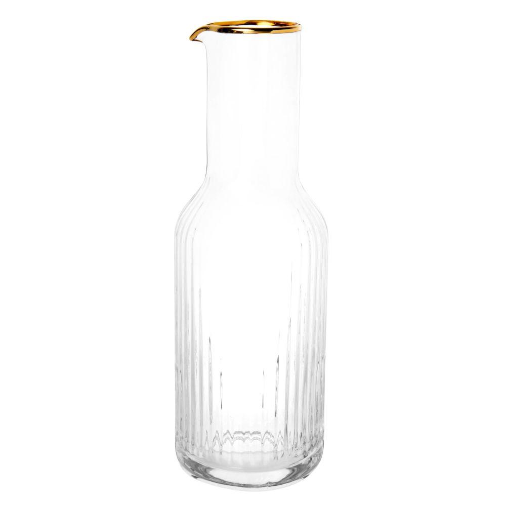 Karaffe aus gerilltem Glas mit goldfarbenem Rand, 1 l