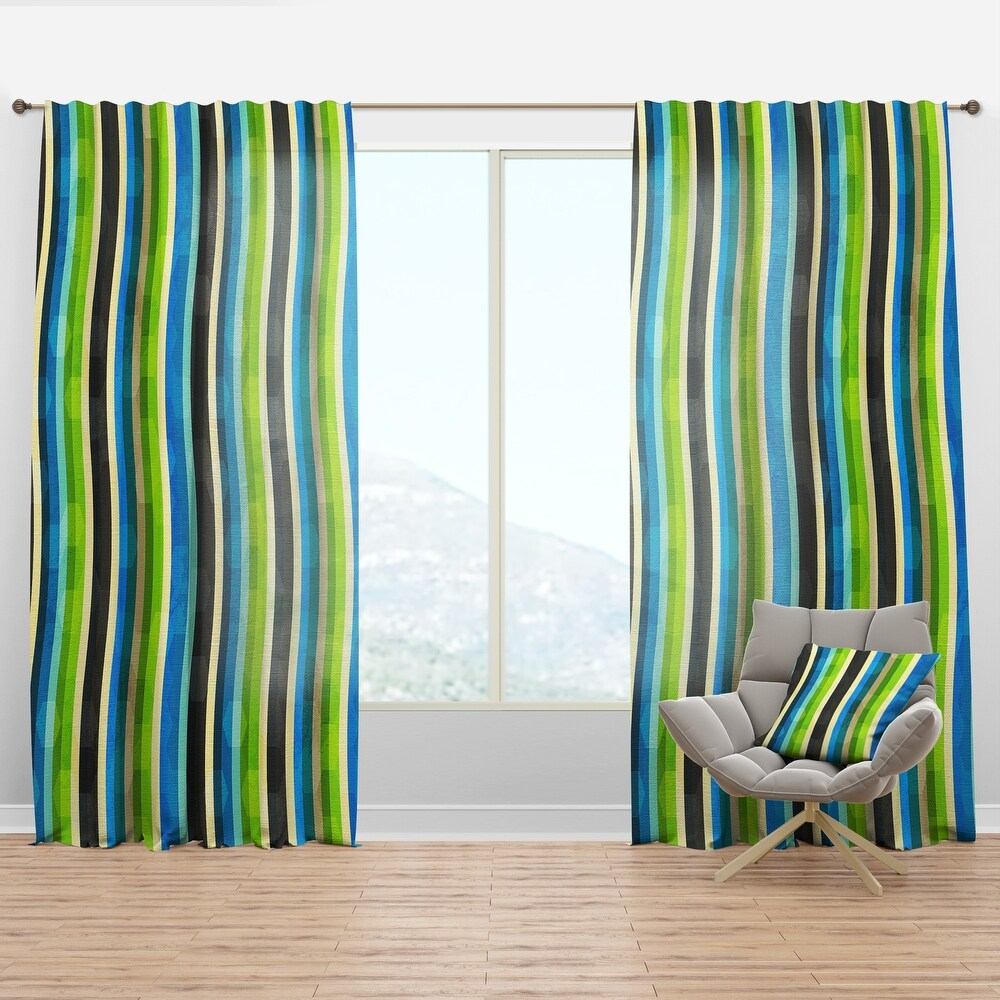 Designart 'Blue, Yellow, Blue, Green and Black Colored curves' Modern & Contemporary Curtain Panel (50 in. wide x 84 in. high - 1 Panel)