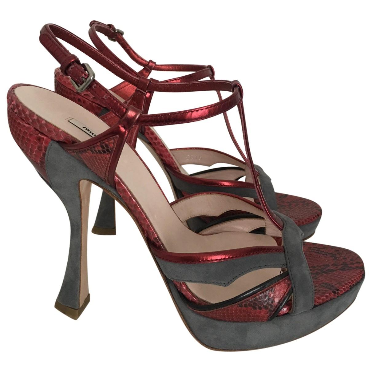Miu Miu \N Burgundy Python Sandals for Women 38 EU