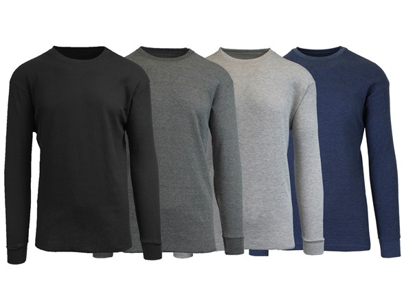 4pk Men's Waffle-knit Thermal Shirts