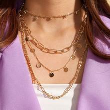 1pc Disc Charm geschichteten Halskette