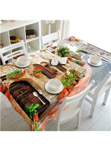 Modern Design Country Style Small Town Street Scenery 3D Tablecloth