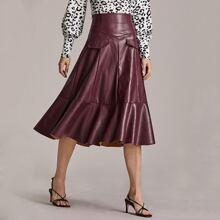 Wide Waistband Ruffle Hem PU Skirt