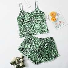 Plus Allover Print Satin Pajama Set