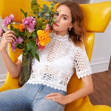 Solid Keyhole Back Guipure Lace Top Without Bra