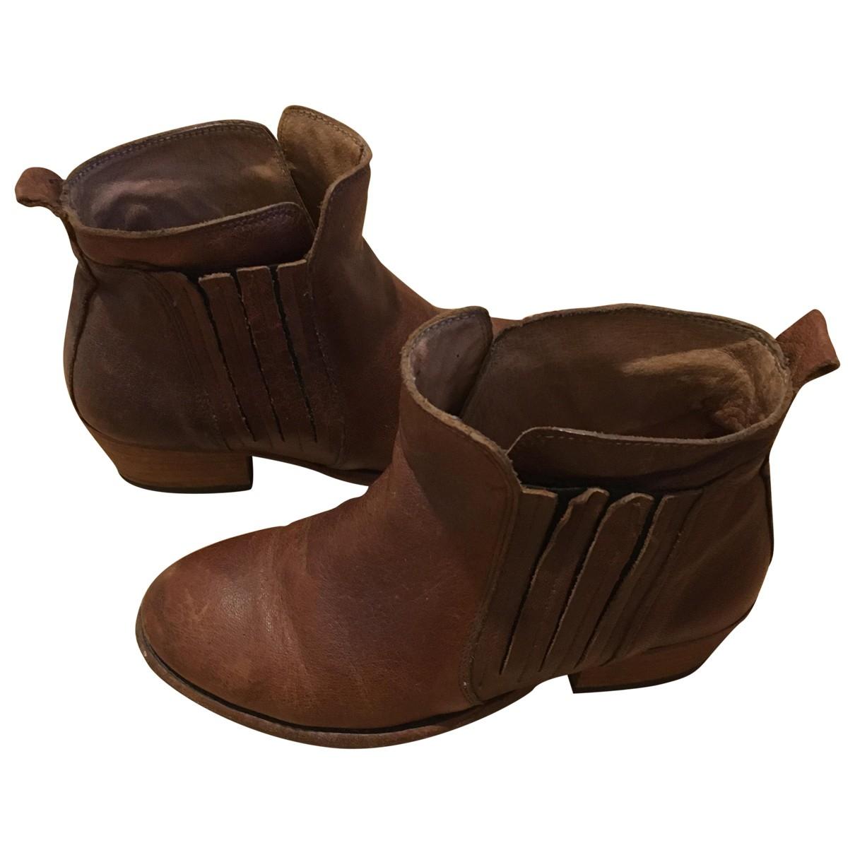 H By Hudson - Boots   pour femme en cuir - marron