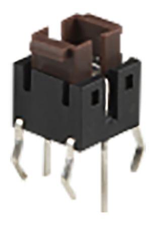 TE Connectivity Blue Rectangular Tactile Switch, Single Pole Single Throw (SPST) 50 mA 2.2mm Through Hole (5)