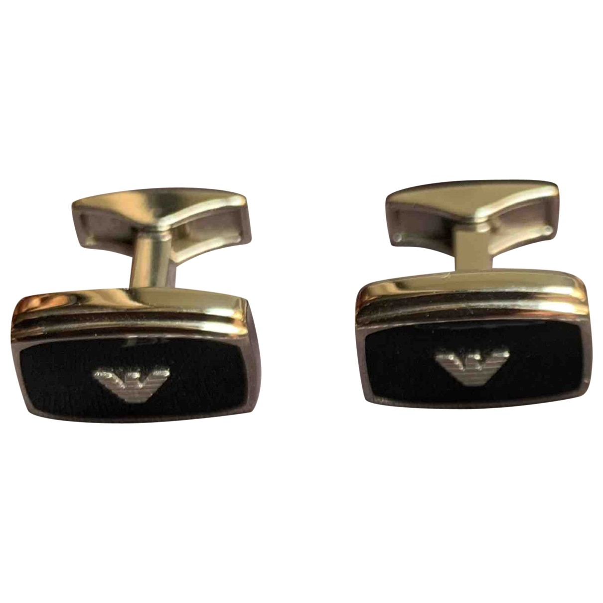 Emporio Armani \N Black Steel Cufflinks for Men \N