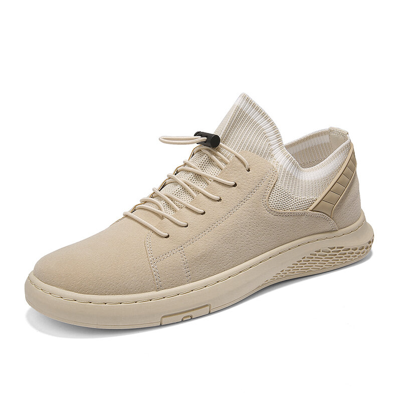 Men PU Leather Fabric Splicing Non Slip Elastic Lace Casual Shoes