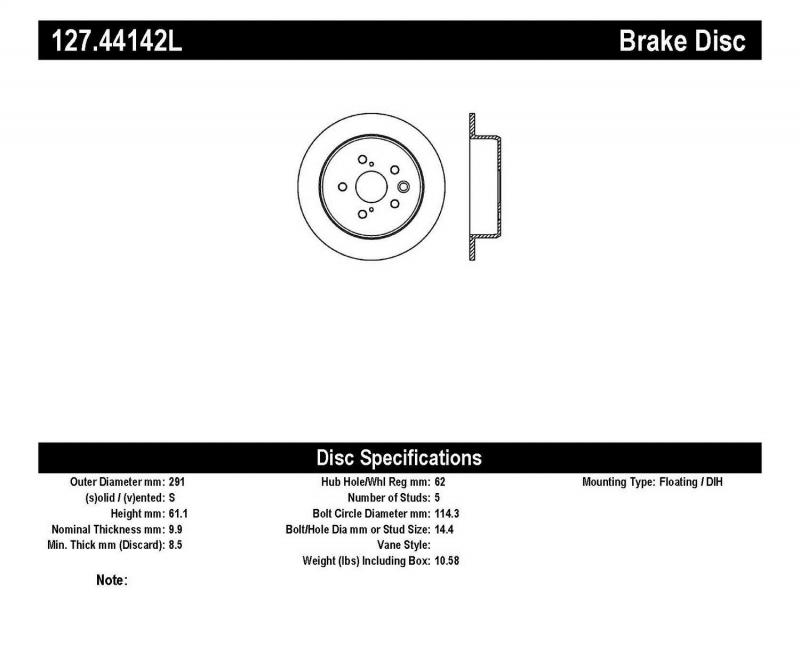 StopTech 127.44142L Sport Drilled/Slotted Brake Rotor; Rear Left Lexus IS250 Rear Left 2006-2012