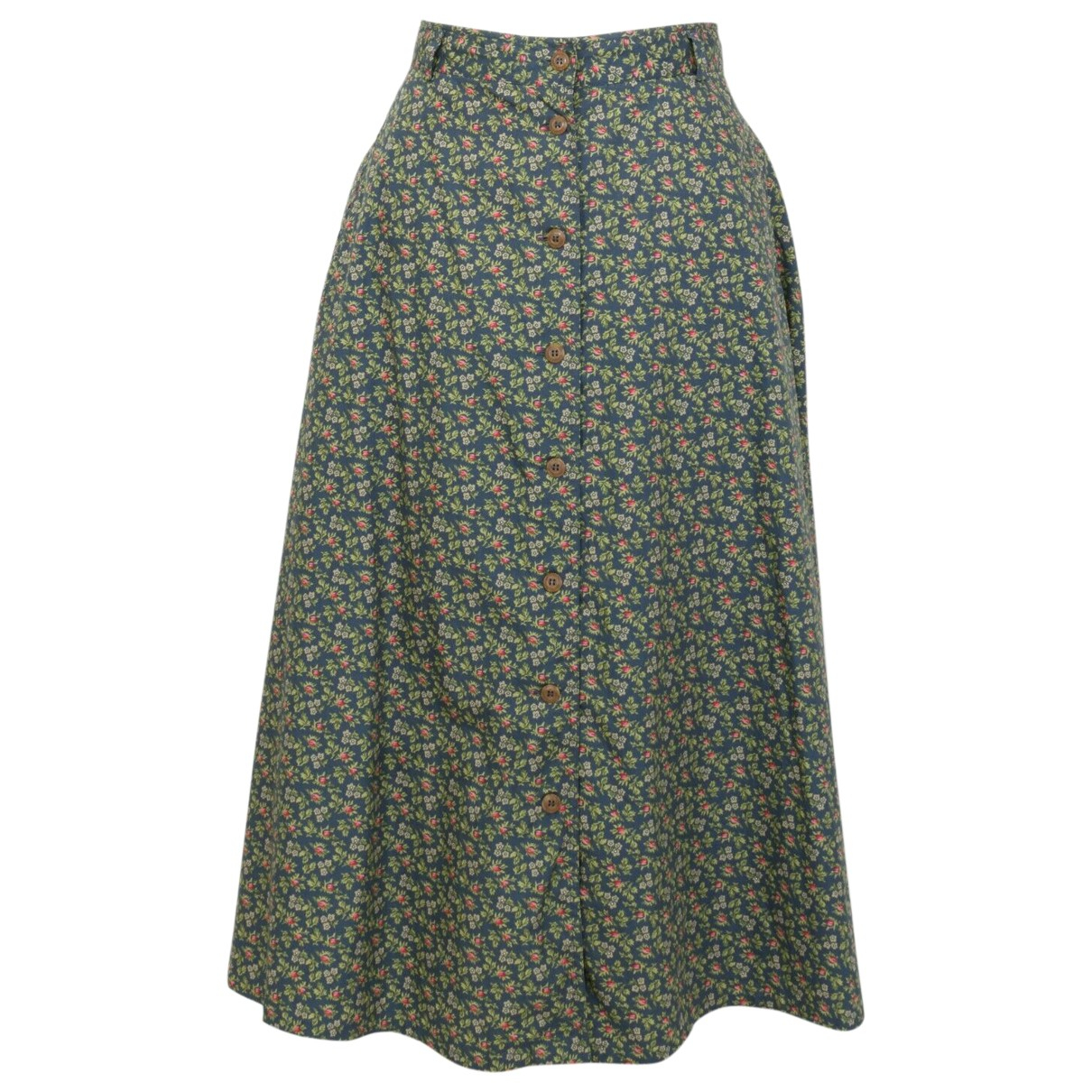 Non Signé / Unsigned Hippie Chic Green Cotton skirt for Women 14-16 US