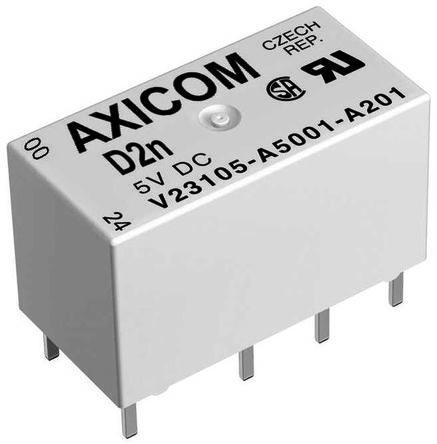 TE Connectivity , 5V dc Coil Non-Latching Relay DPDT, 1A Switching Current PCB Mount, 2 Pole