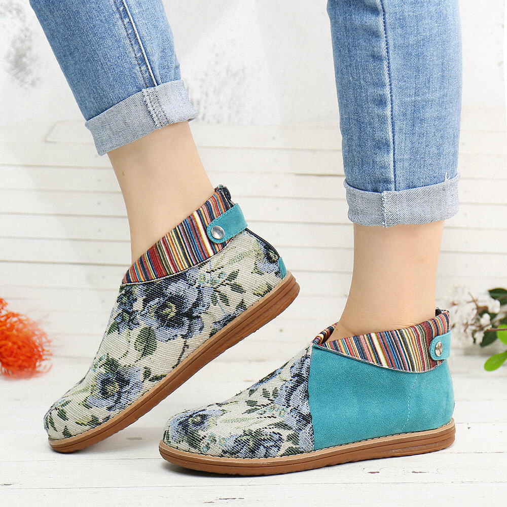 Retro Floral Printing Cloth Splicing Colorful Stripe Zipper Buckle Ankle Boots