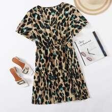 Plus Surplice Neck Allover Print A-line Dress