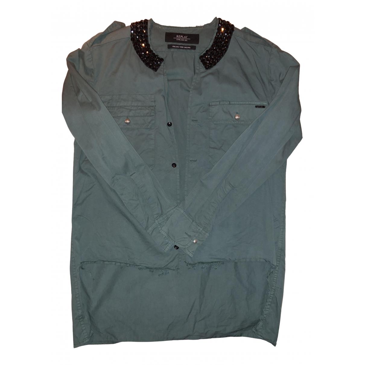 Replay - Top   pour femme en coton - vert