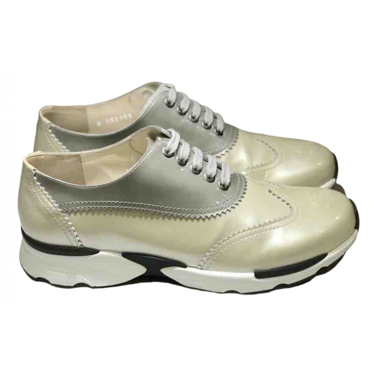 Chanel N Gold Leather Trainers for Women 39 EU