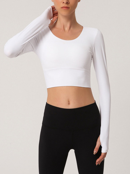 Milanoo Yoga T Shirt Long Sleeve Backless Strappy Cropped Workout Tops