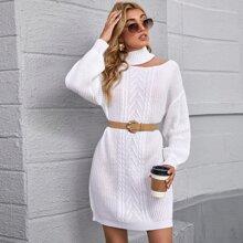 Cut Out Drop Shoulder Cable Knit Sweater Dress Without Belt