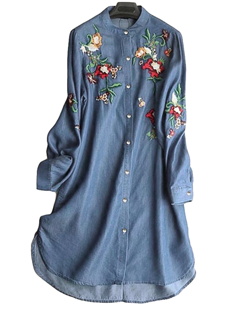 Embroidered Stand Collar Irregular Long Sleeve Vintage Blouse