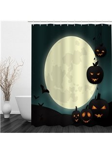 3D Halloween Jack-o-Lanterns Moon Polyester Waterproof Antibacterial Eco-friendly Shower Curtain