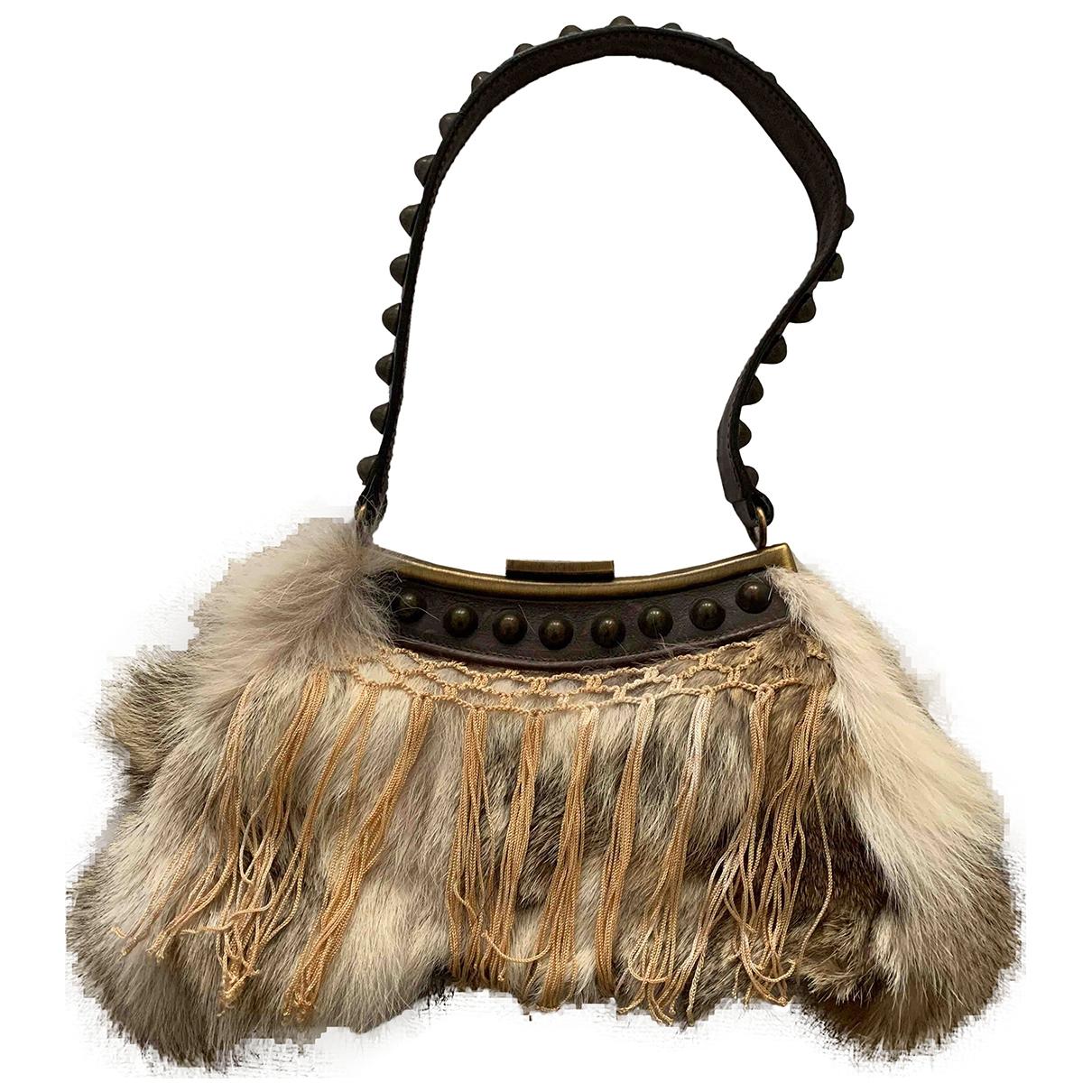 Galliano \N Handtasche in  Kamel Kaninchen