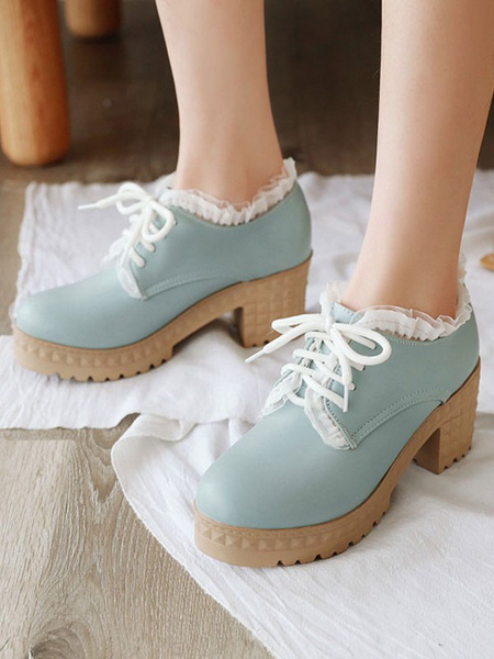 Milanoo Sweet Lolita Calzado Punta redonda Tacon grueso Cuero de PU Zapatos Lolita