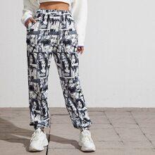 Pop Art Print Slant Pocket Sweatpants